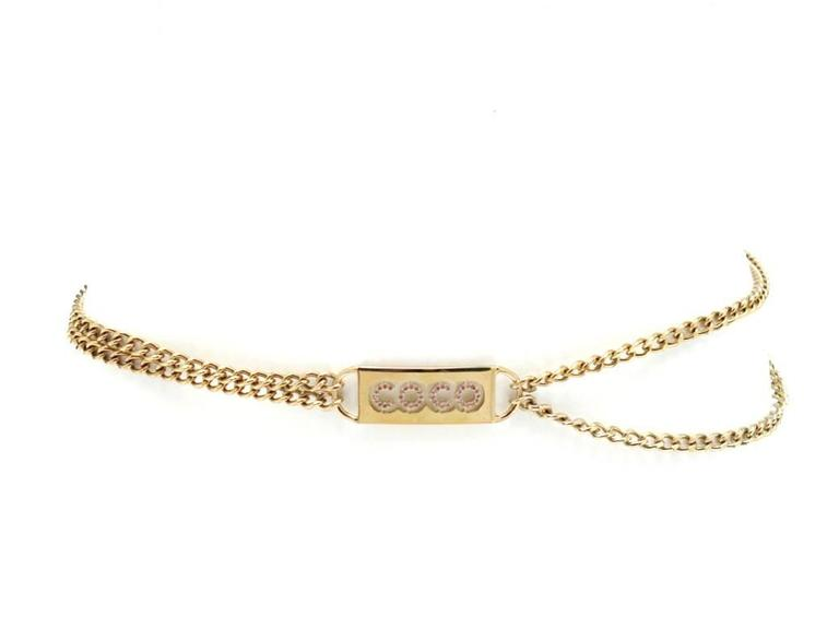 Beige Chanel Pink Crystal Coco ID Tag Chain Belt Spring 2002 For Sale