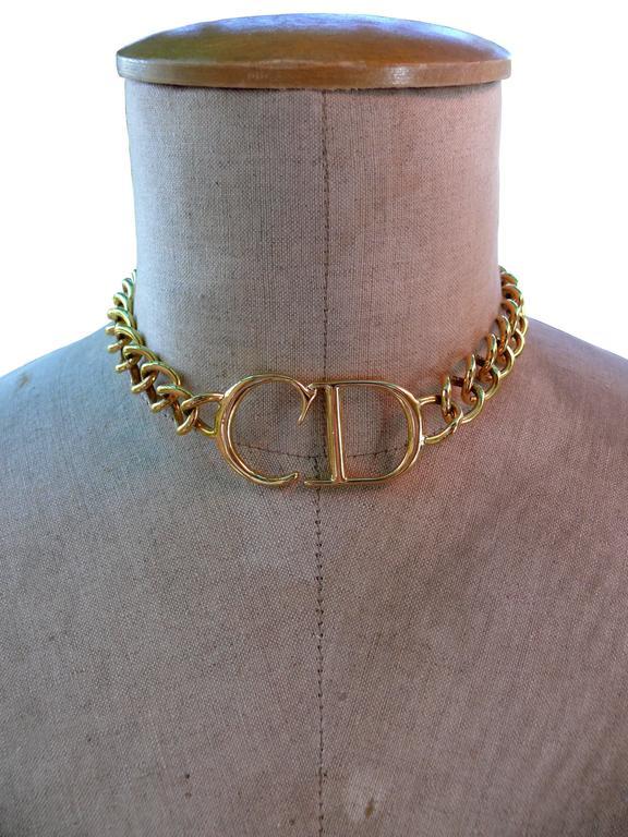 Christian Dior Gold Cd Monogram Necklace At 1stdibs