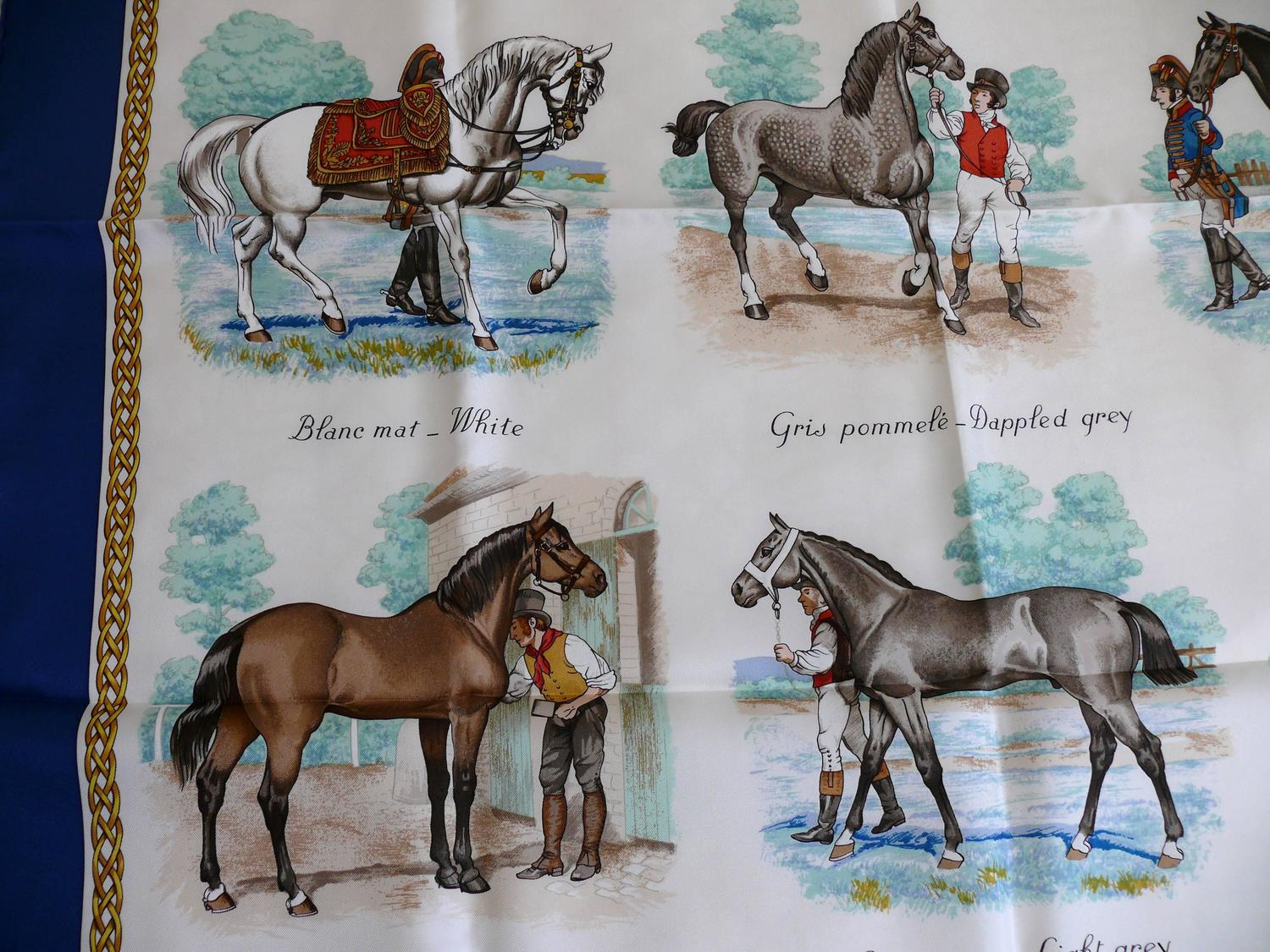 """Hermes Silk Carre Scarf Horse Print """"Les Robes"""" by Ledoux ..."""