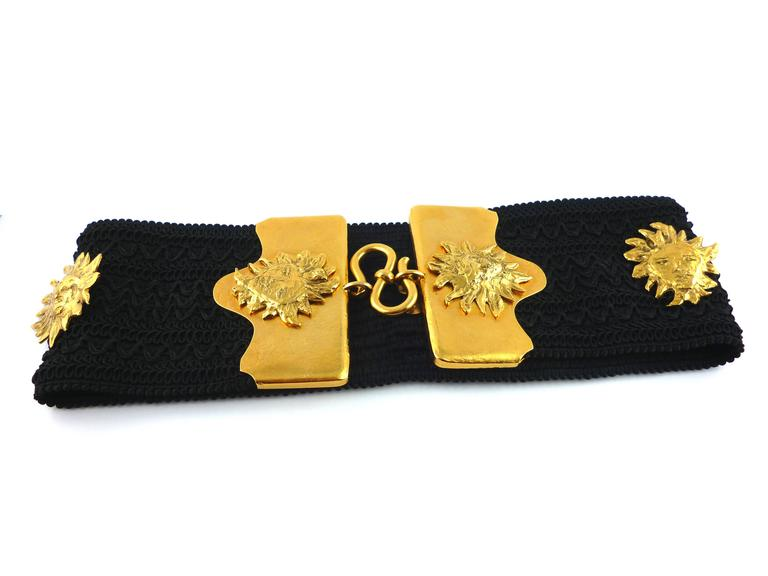 Yves Saint Laurent YSL by Robert Goossens Vintage Rare Sun Face Waist Belt 4
