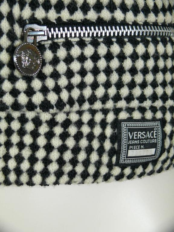 Gianni Versace Jeans Couture Vintage 90's Black & White Checkered Vest Jacket For Sale 1