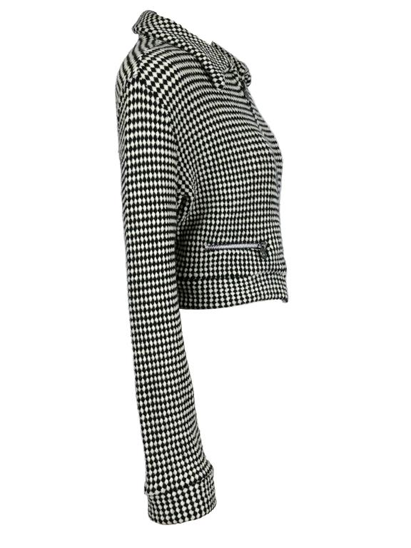 GIANNI VERSACE Jeans Couture vintage blended wool black and white checkered vest jacket.  Zip up front. Medusa head zip buttons. Two front pockets. Unlined.  Label reads Versace Jeans Couture. Piece n° 796704.  Marked Size : L. Please