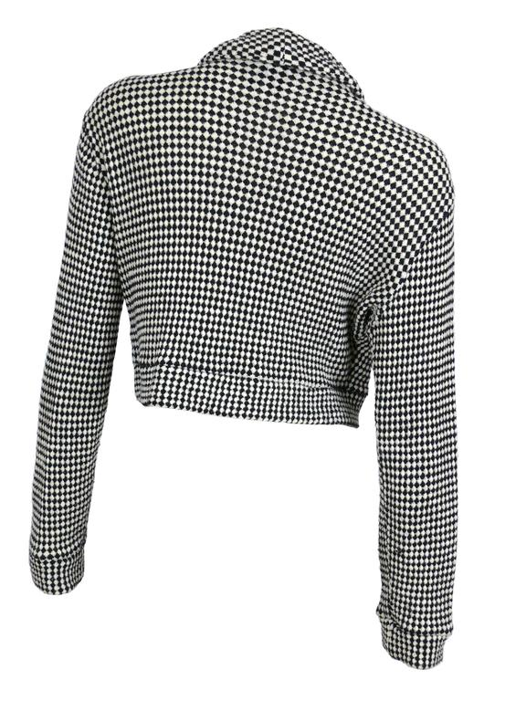 Gianni Versace Jeans Couture Vintage 90's Black & White Checkered Vest Jacket In Excellent Condition For Sale In French Riviera, Cote d'Azur