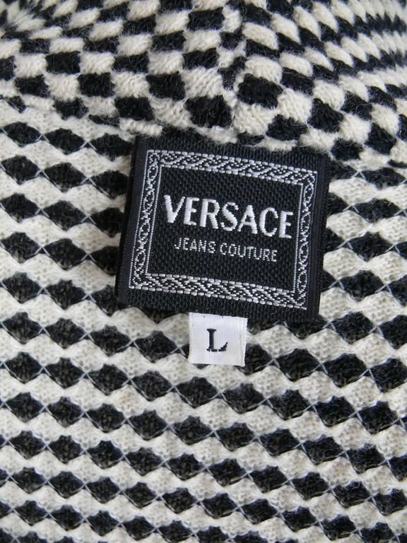 Women's Gianni Versace Jeans Couture Vintage 90's Black & White Checkered Vest Jacket For Sale