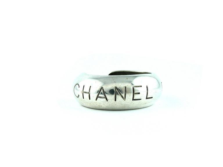 "Chanel Vintage Silvertone Cuff Bracelet ""Chanel Paris"" Spring 1996 2"