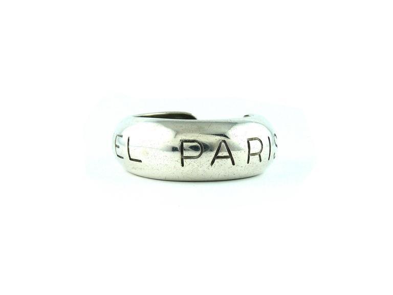 "Chanel Vintage Silvertone Cuff Bracelet ""Chanel Paris"" Spring 1996 3"