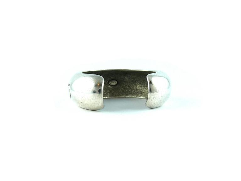 "Chanel Vintage Silvertone Cuff Bracelet ""Chanel Paris"" Spring 1996 4"