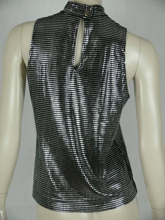 Black Paco Rabanne Silver Foil Sleeveless Top For Sale