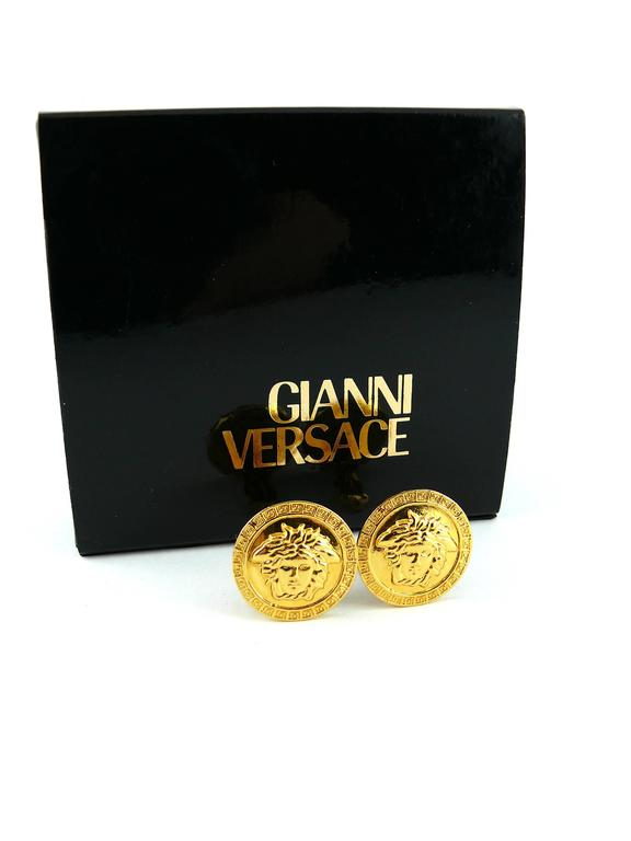 Gianni Versace Vintage Unworn Medusa Clip-On Earrings 2