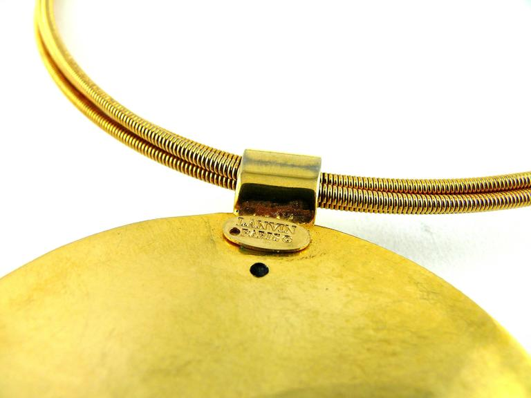 Lanvin Vintage Gold Modernist Choker Necklace In Excellent Condition For Sale In French Riviera, FR