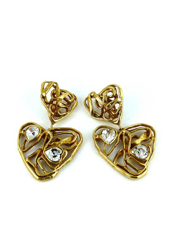 Women's Yves Saint Laurent YSL Vintage Massive Jewelled Wired Heart Dangling Earrings