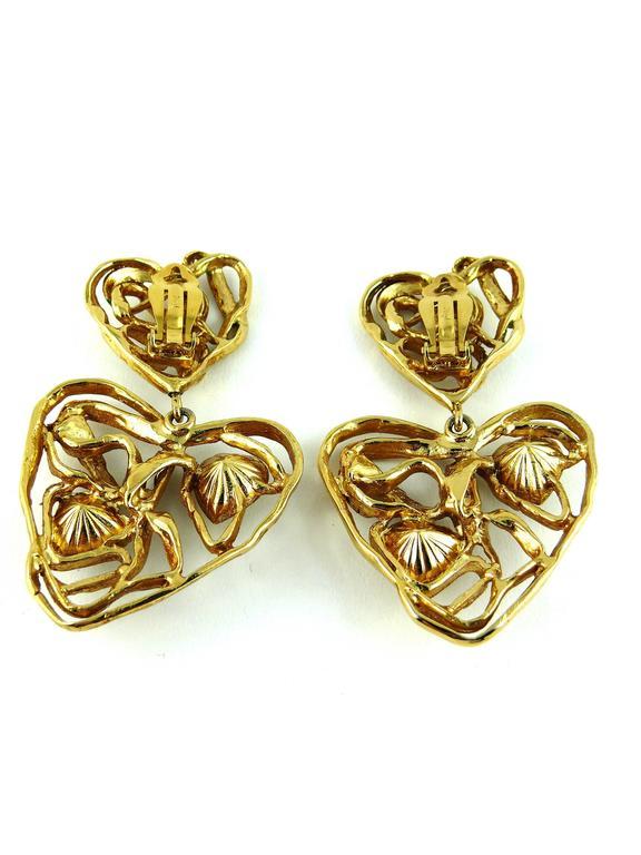 Yves Saint Laurent YSL Vintage Massive Jewelled Wired Heart Dangling Earrings 1
