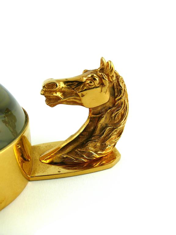 Hermes Rare Vintage Equestrian Desk Paperweight Magnifier In Good Condition For Sale In French Riviera, Cote d'Azur