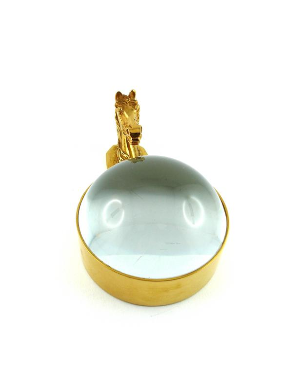 HERMES Paris rare vintage gold plated equestrian desk paperweight magnifier.