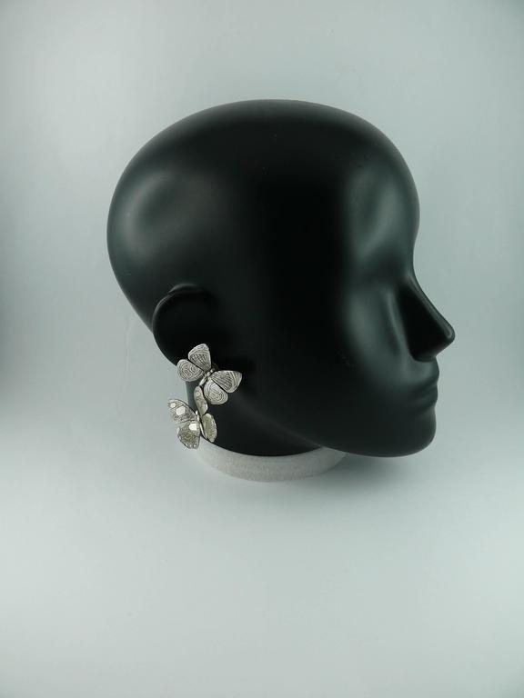 JEAN PAUL GAULTIER vintage silver tone dangling earrings (clip-on) featuring butterflies.  Marked GAULTIER.  JEWELRY CONDITION CHART - New or never worn : item is in pristine condition with no noticeable imperfections - Excellent : item has been