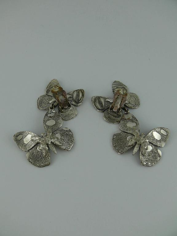 Women's Jean Paul Gaultier Vintage Silver Tone Butterfly Dangling Earrings For Sale