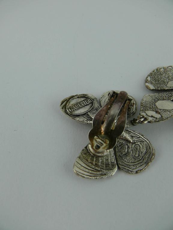 Jean Paul Gaultier Vintage Silver Tone Butterfly Dangling Earrings For Sale 1