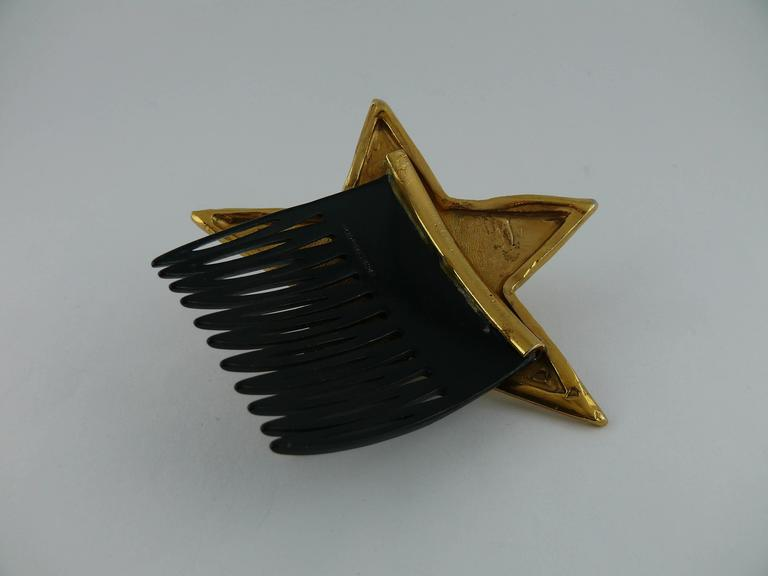 Yves Saint Laurent Attributed Vintage Rare Star Hair Comb In Good Condition For Sale In French Riviera, Cote d'Azur