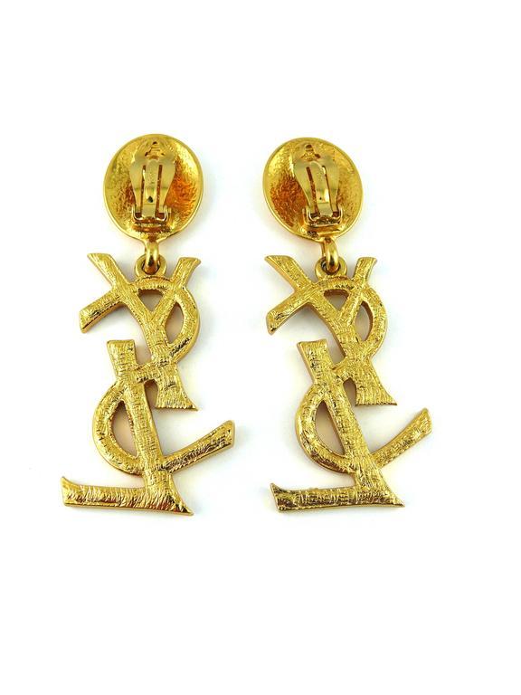 Yves Saint Laurent YSL Vintage Rare Massive Iconic Crystal Logo Earrings 5