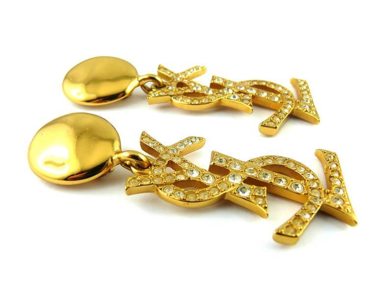 Women's Yves Saint Laurent YSL Vintage Rare Massive Iconic Crystal Logo Earrings For Sale