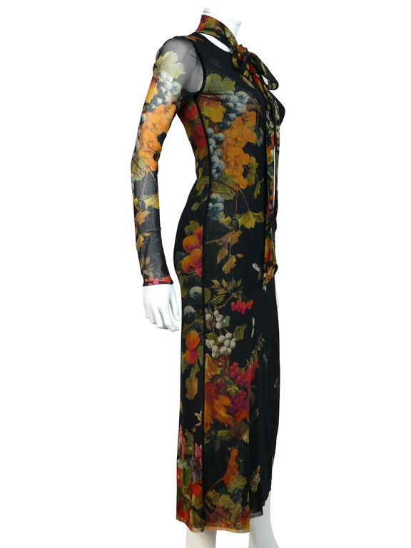 Jean Paul Gaultier Floral Print Fuzzi Mesh Dress M In Excellent Condition For Sale In French Riviera, Cote d'Azur