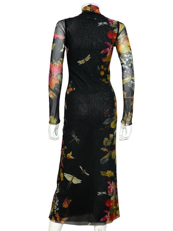 Black Jean Paul Gaultier Floral Print Fuzzi Mesh Dress M For Sale