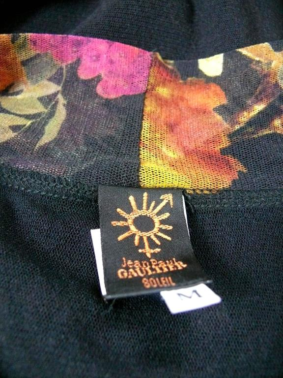 Women's Jean Paul Gaultier Floral Print Fuzzi Mesh Dress M For Sale