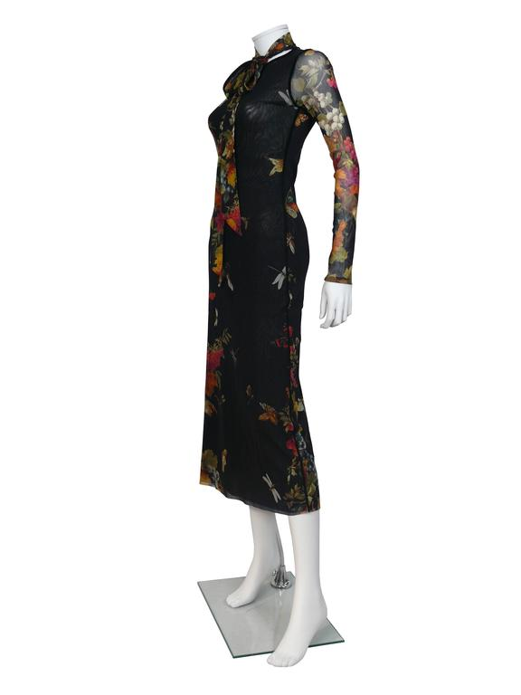 JEAN PAUL GAULTIER gorgeous floral print Fuzzi stretch mesh dress.  Multicolor design featuring grapes, butterflies and dragonflies on a black background.  Label reads JEAN PAUL GAULTIER Soleil.  Marked Size : M. Please refer to