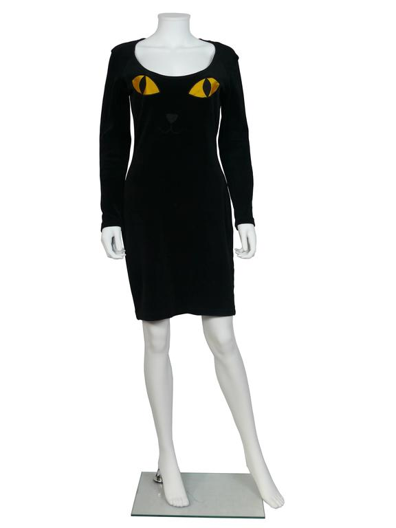 "Moschino Vintage ""Cat Eyes"" Black Velvet Dress 1990s 2"