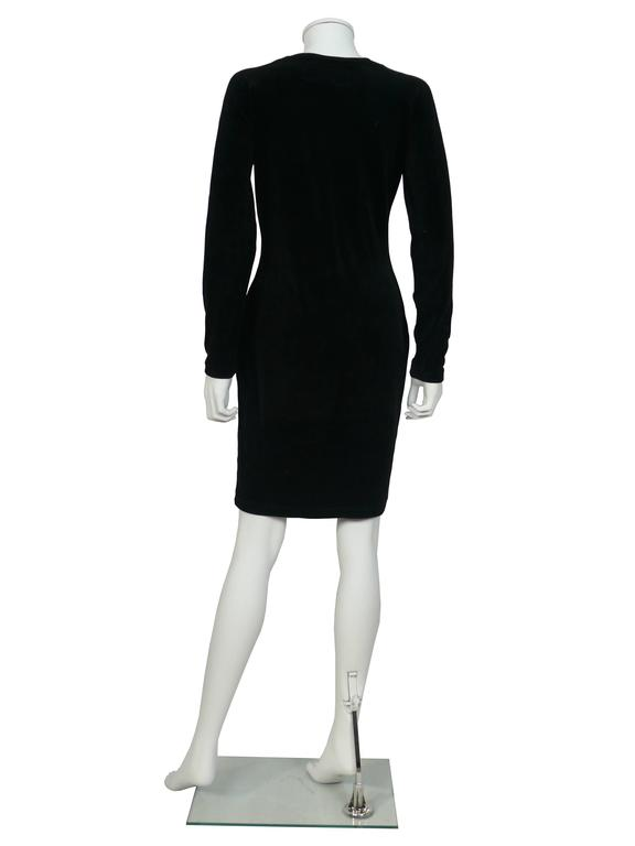 "Moschino Vintage ""Cat Eyes"" Black Velvet Dress 1990s 4"