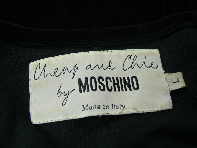 "Moschino Vintage ""Cat Eyes"" Black Velvet Dress 1990s 5"