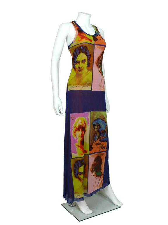 JEAN PAUL GAULTIER vintage portrait photo print Fuzzi mesh stretchy maxi dress.  Label reads JEAN PAUL GAULTIER Soleil.  Size label missing. Please refer to measurements.  Composition label reads : 100 % nylon. FUZZI S.p.a Made in Italy.  Indicative