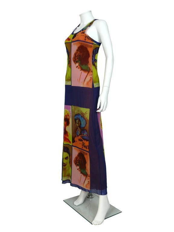 Jean Paul Gaultier Vintage Portrait Photo Print Fuzzi Mesh Portrait Maxi Dress 4