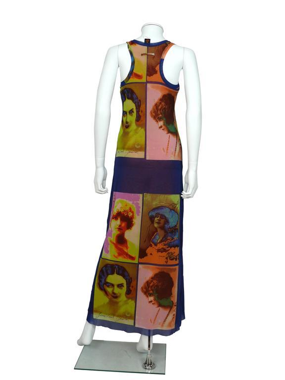 Jean Paul Gaultier Vintage Portrait Photo Print Fuzzi Mesh Portrait Maxi Dress 3
