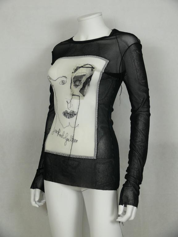 Jean Paul Gaultier Vintage Embroidered Portrait and Eye Applique Mesh Top M In Excellent Condition For Sale In French Riviera, Cote d'Azur