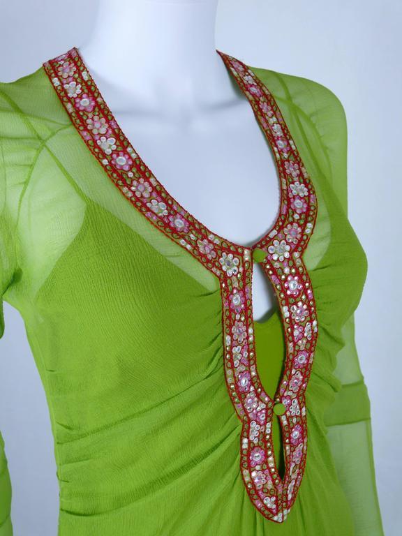 Green Christian Dior Ruffled Chiffon Dress For Sale