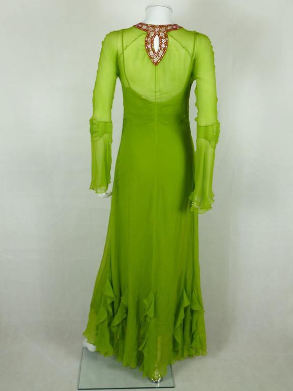 Women's Christian Dior Ruffled Chiffon Dress For Sale