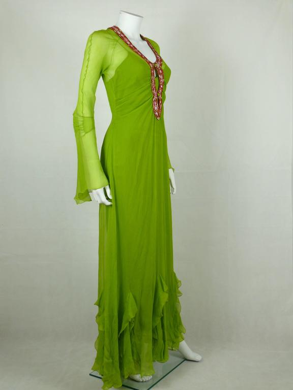 Christian Dior Ruffled Chiffon Dress In Excellent Condition For Sale In Nice, FR