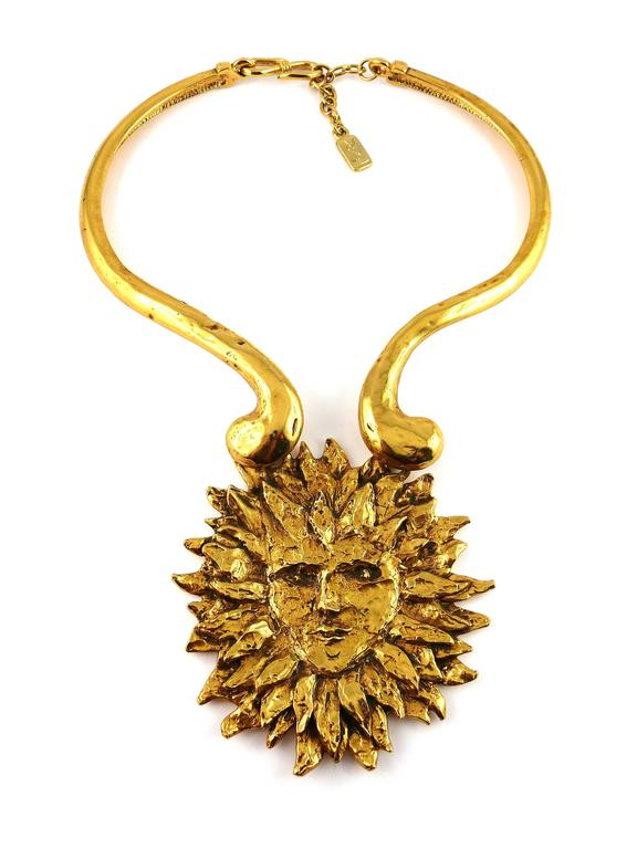 Yves Saint Laurent by Robert Goossens Vintage Rare Sun Face Chocker Necklace 2