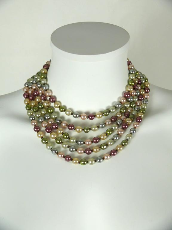 Christian Dior Vintage Five Strand Multicolor Pearl Choker Necklace 3