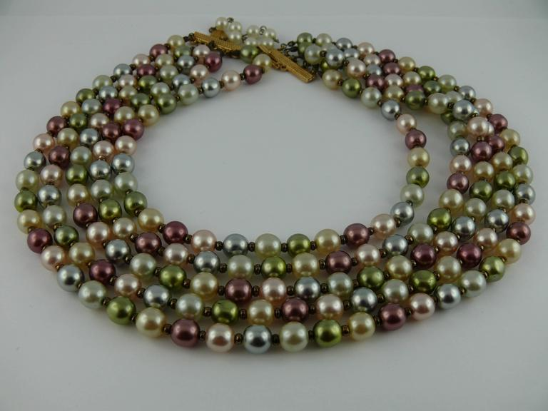 Christian Dior Vintage Five Strand Multicolor Pearl Choker Necklace 2