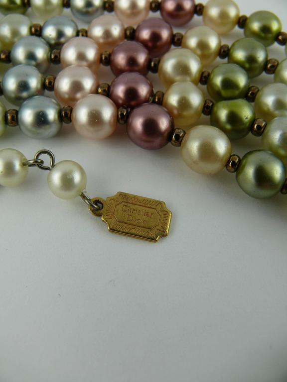 Christian Dior Vintage Five Strand Multicolor Pearl Choker Necklace 6