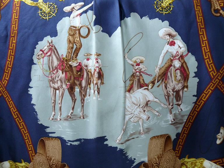 "Hermes Vintage ""Charreada"" Print Silk Shirt Blouse 4"