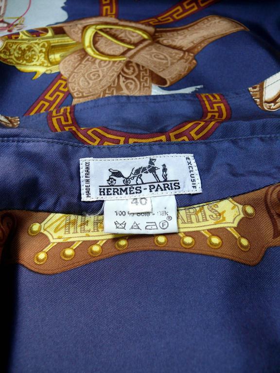 "Hermes Vintage ""Charreada"" Print Silk Shirt Blouse 8"
