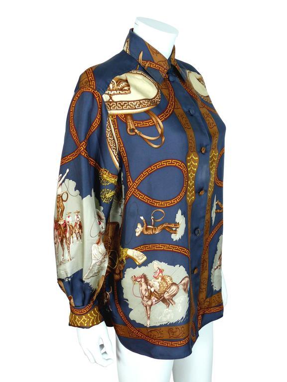 "Hermes Vintage ""Charreada"" Print Silk Shirt Blouse 2"