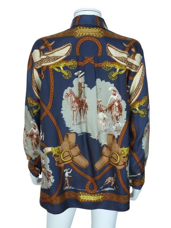 "Hermes Vintage ""Charreada"" Print Silk Shirt Blouse 3"
