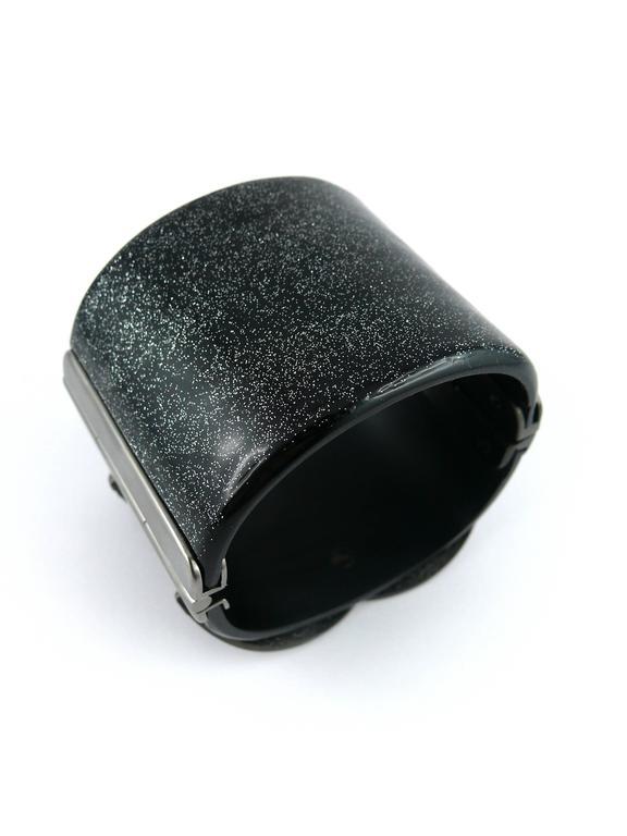 Women's Chanel Rare Massive CC Logo Jet Crystal Cuff Bracelet Spring/Summer 2009 For Sale