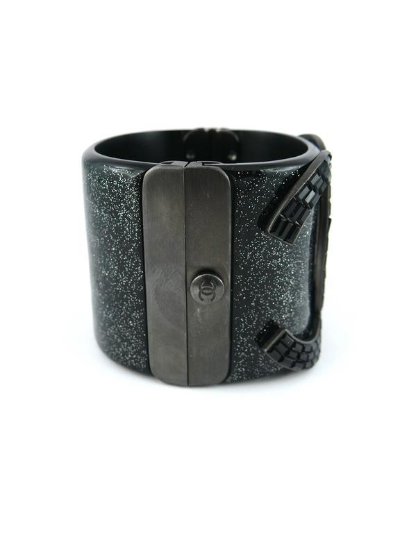 Chanel Rare Massive CC Logo Jet Crystal Cuff Bracelet Spring/Summer 2009 For Sale 1