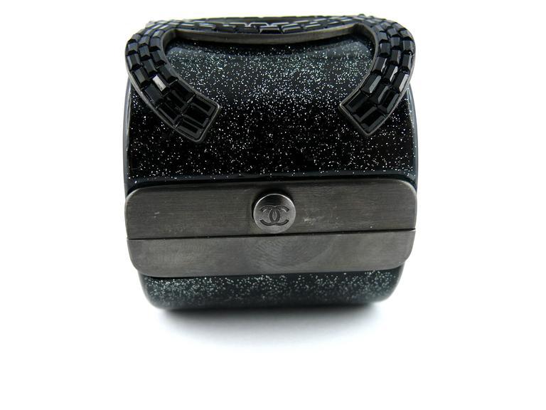 Chanel Rare Massive CC Logo Jet Crystal Cuff Bracelet Spring/Summer 2009 For Sale 2