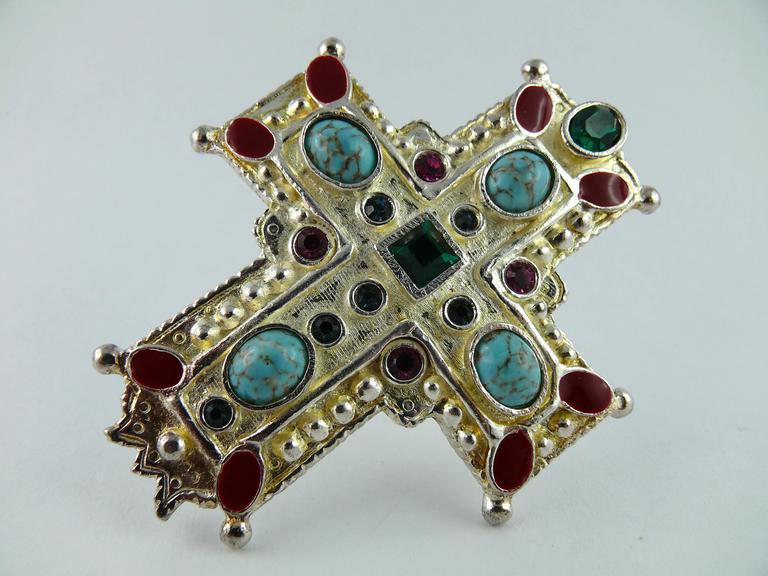 Christian Lacroix Vintage Rare Massive Jewelled Cross Brooch Pendant 2